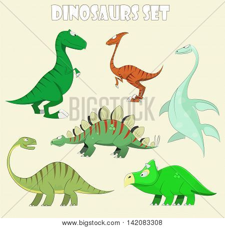Cartoon dinosaur collection set vector illustration. Cute monster funny prehistoric characters . First set.