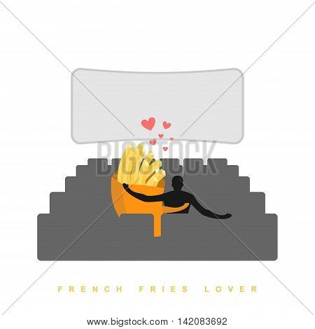Lover French Fries. Fastfood In Cinema. Man And Meal In Cinema Hall. Places For Kisses On Last Row.