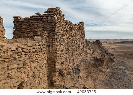 ruins of the ancient city in Sahara desert