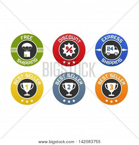 Vector set of flat icons or badges for online selling. Free and express shipping discount and gold silver and bronze best seller.