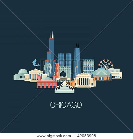 Vector illustration of Chicago skyline with famous landmarks. Greeting card or poster with historical buildings sightseeing and known museums. Flat style.