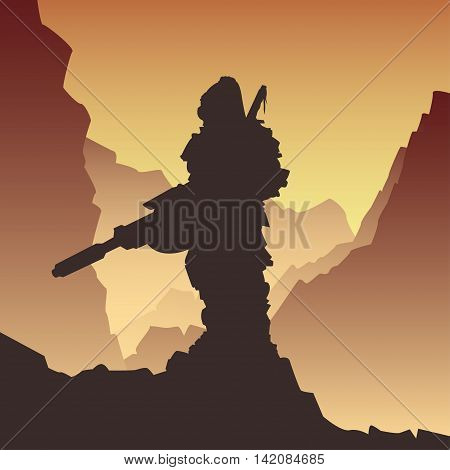 vector illustration soldier with a rifle in a post-apocalyptic style
