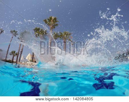 water splashing in the pool