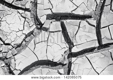 texture of dried earth in the cracks close up black and white photo