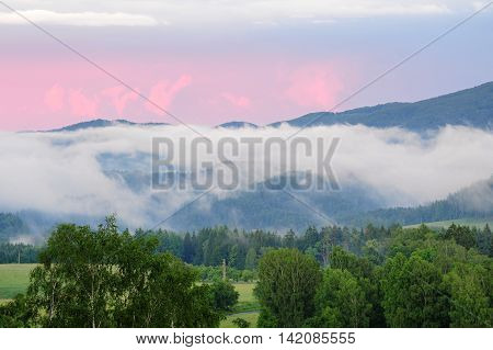 Czech Switzerland in the evening mist created by rain