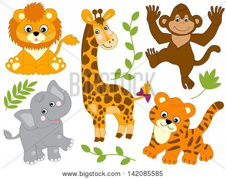 Vector cute cartoon baby safari animals set
