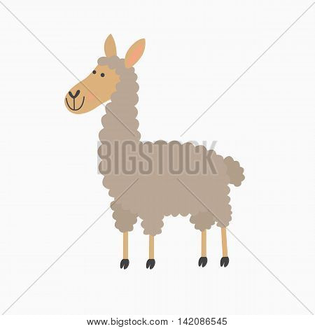 Illustration of cute lama isolated on white background