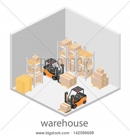 Isometric Interior Of Warehouse. The Boxes Are On The Shelves