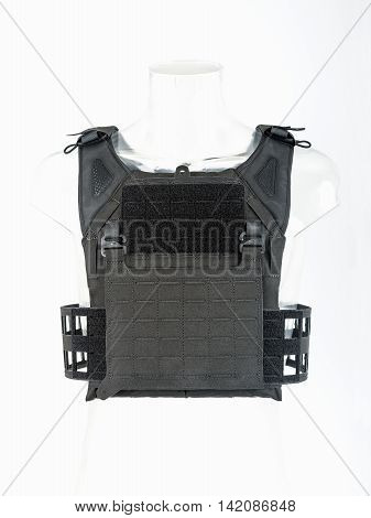 Lightweight bulletproof vest modern body armor with guards black concept army.