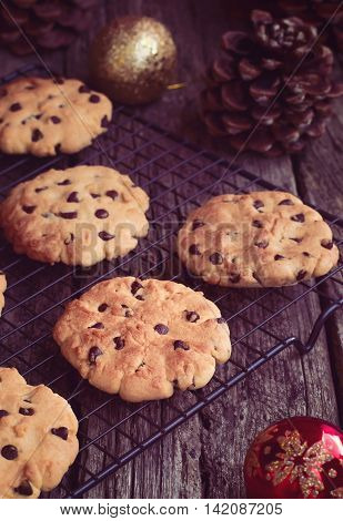 Holiday Chocolate Chip Cookies at Christmas Time on a Cooling Rack