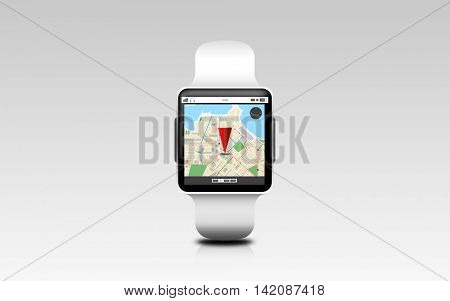 modern technology, object, location and navigation concept - illustration of smart watch with gps navigator map on screen over gray background