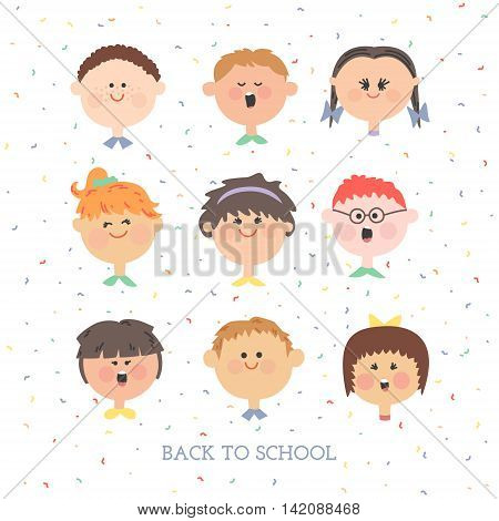 A set individuals. Boys and girls. Pupils. Children faces on white background.