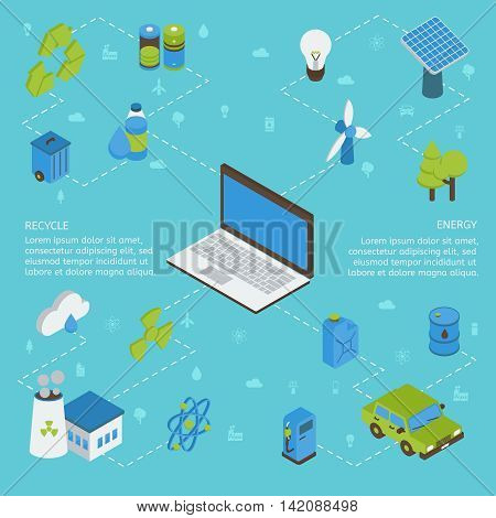 Ecology isometric infographics with computer green energy factory batteries on blue background with flat signs vector illustration