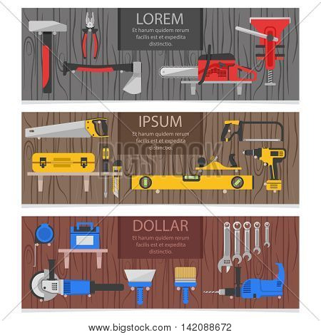 Work tools horizontal banners set with colored instruments for carpenter on wood texture background isolated vector illustration