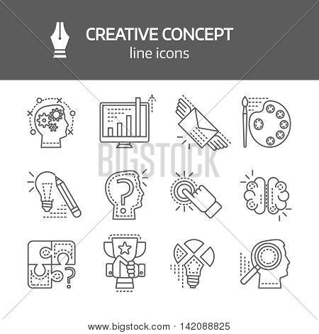 Creative concept linear monochrome icons with inspiration brainchild puzzle searching of solutions success isolated vector illustration