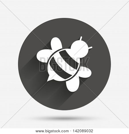 Bee sign icon. Honeybee or apis with wings symbol. Flying insect diagonal. Circle flat button with shadow. Vector