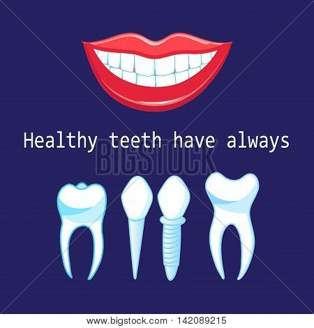 Graphic advertising vector healthy teeth and implants on a blue background