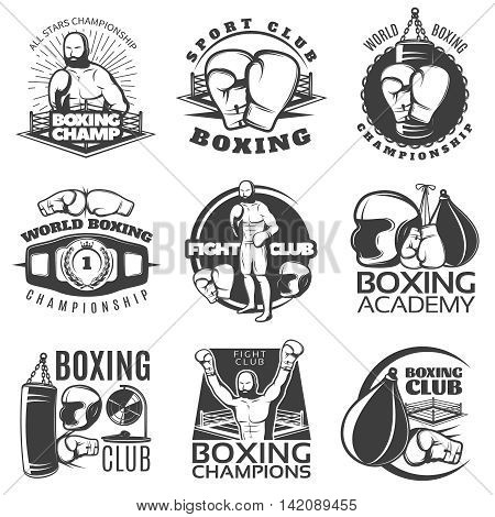 Boxing black white emblems of clubs and championships with fighter sports equipment award isolated vector illustration
