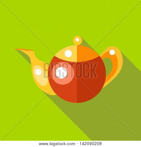 Tea pot icon in flat style isolated with long shadow