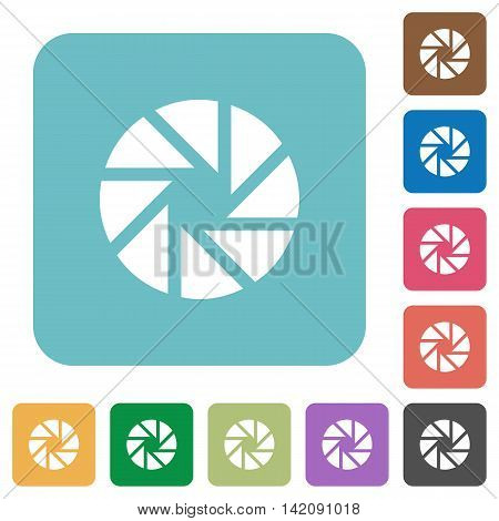 Flat aperture icons on rounded square color backgrounds.