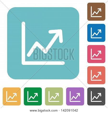 Flat line graph icons on rounded square color backgrounds.
