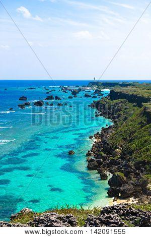Beautiful landscapes of Higasihennazaki Okinawa Miyakojima in Japan