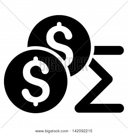 Coin Summary icon. Glyph style is flat iconic symbol with rounded angles, black color, white background.