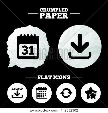 Crumpled paper speech bubble. Download and Backup data icons. Calendar and rotation arrows sign symbols. Paper button. Vector
