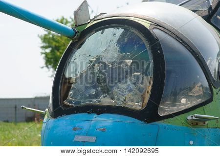 broken windshield from the old helicopter in museum