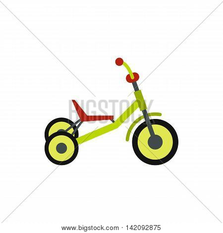 Tricycle icon in flat style isolated on white background. Sport symbol
