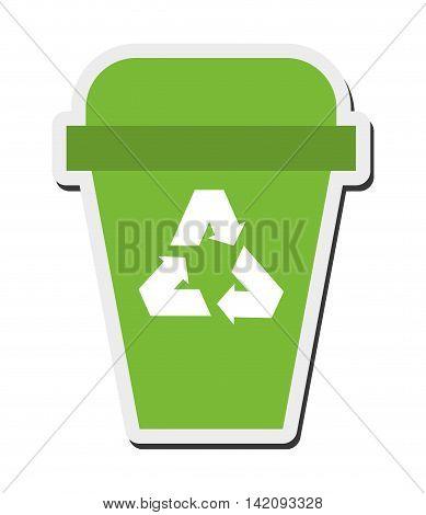 flat design recycle bin icon vector illustration