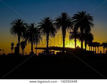 Montevideo Boardwalk Scene At Sunset
