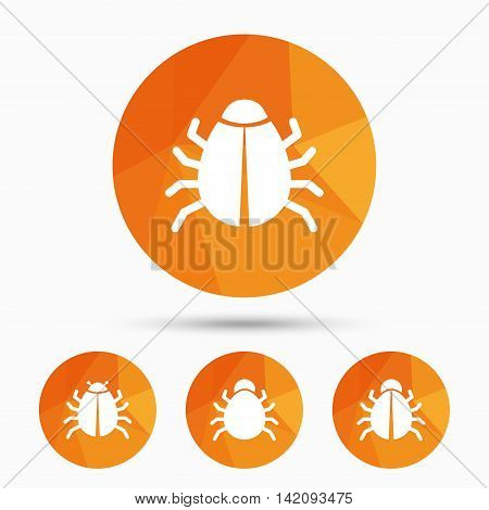 Bugs vaccination icons. Virus software error sign symbols. Triangular low poly buttons with shadow. Vector