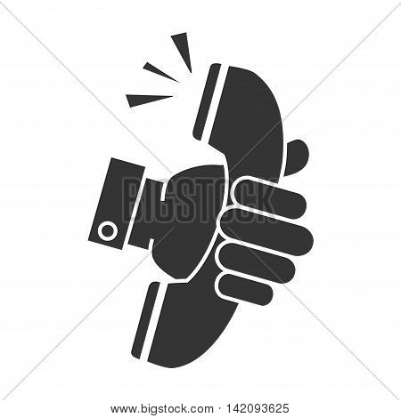 hand holding telephone handset talking phone communication line call vector graphic isolated and flat illustration
