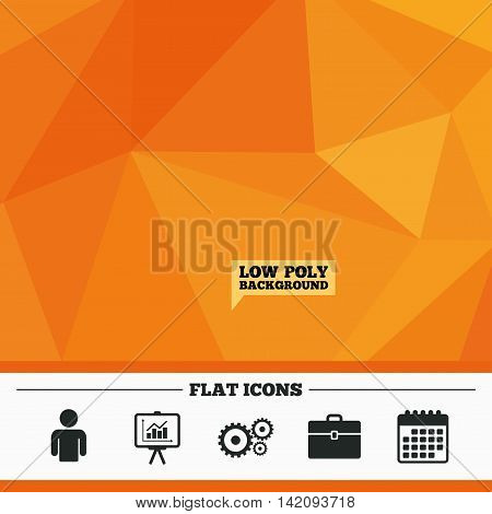 Triangular low poly orange background. Business icons. Human silhouette and presentation board with charts signs. Case and gear symbols. Calendar flat icon. Vector