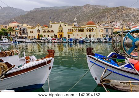 A view of a port in Kalymnos island, Dodecanese, Greece.