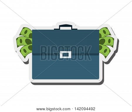 flat design briefcase full of money icon vector illustration