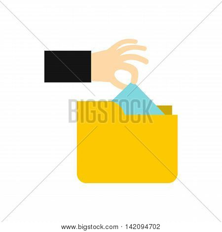 Hand stealing e-mail icon in flat style isolated on white background. Hacking symbol