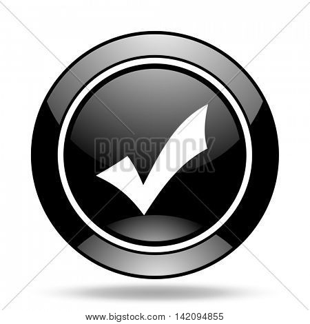 accept black glossy icon