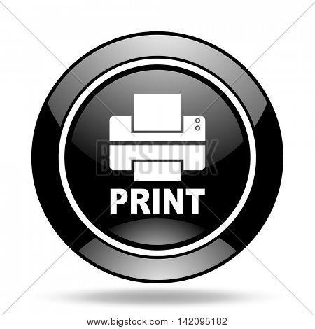 printer black glossy icon