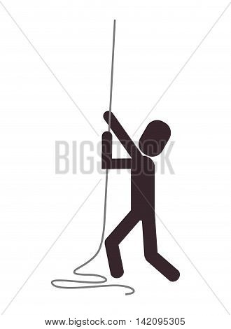 flat design person climbing rope icon vector illustration