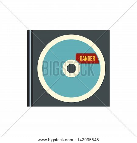 Disk with virus icon in flat style isolated on white background. Hacking symbol