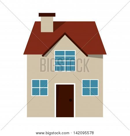 flat design house frontview icon vector illustration