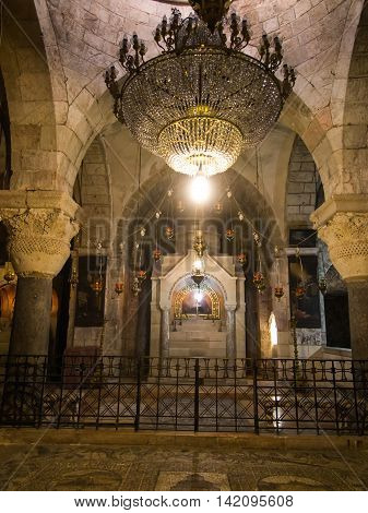 JERUSALEM ISRAEL - July 15 2015: One of the chapels within the basilica of the Holy Sepulchre in Jerusalem Israel