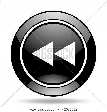 rewind black glossy icon