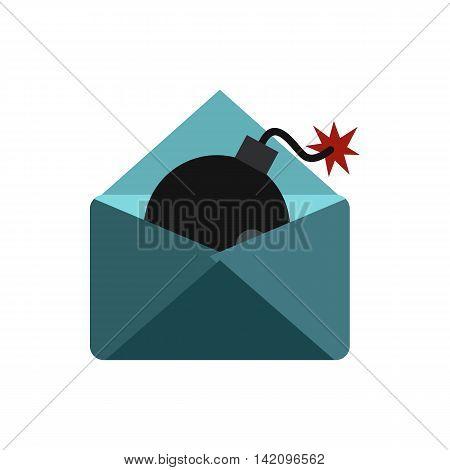 Hacking e-mail icon in flat style isolated on white background. Cracking symbol