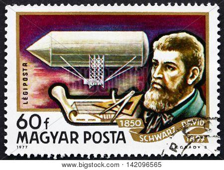 HUNGARY - CIRCA 1977: a stamp printed in Hungary shows David Schwarz Aviation Pioneer and Airship 1850 circa 1977