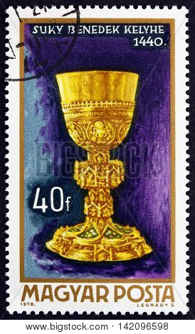 HUNGARY - CIRCA 1970: a stamp printed in Hungary shows Chalice by Benedek Suky 1440 Hungarian Goldsmiths' Art circa 1970