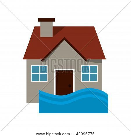 flat design house flood icon vector illustration