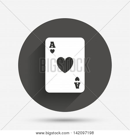 Casino sign icon. Playing card symbol. Ace of hearts. Circle flat button with shadow. Vector